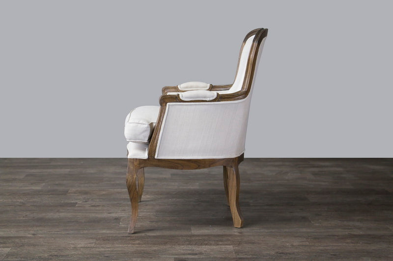 Traditional French Living Room Chair in White