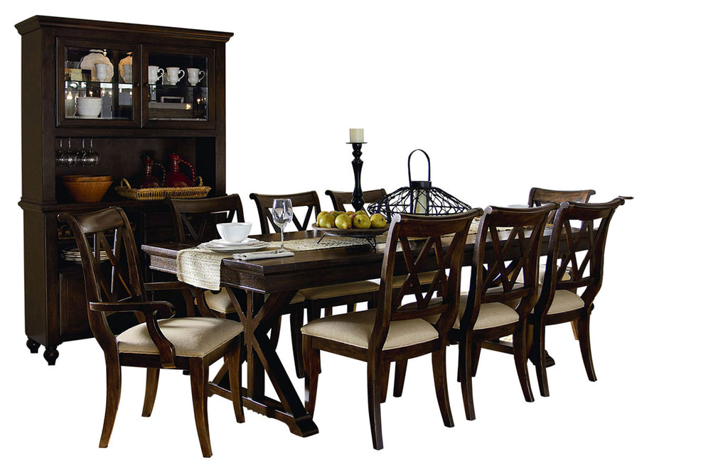 Legacy Classic Thatcher 10PC Dining Set Trestle Table Six Side Chair Two Arm Chair Buffet & Hutch in Amber