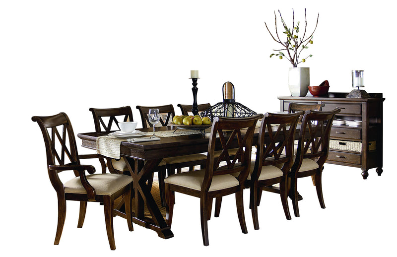 Legacy Classic Thatcher 10PC Dining Set Trestle Table Six Side Chair Two Arm Chair Server in Amber