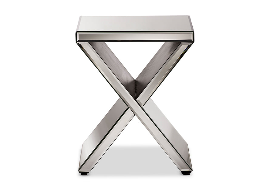 Contemporary Mirrored Accent Side Table in Silver
