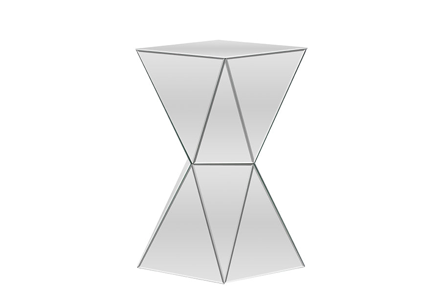 Contemporary Mirrored End Table in Silver