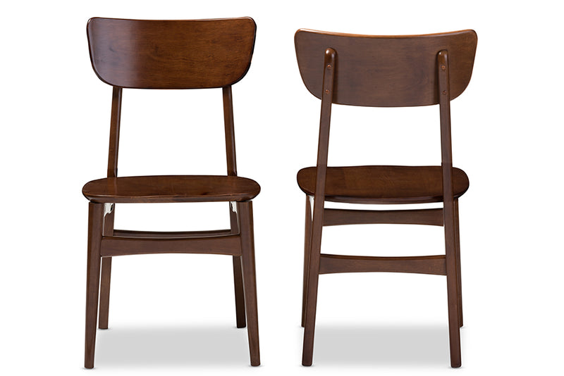 Mid-Century Modern 2 Dining Side Chairs in Dark Brown Solid Rubber Wood