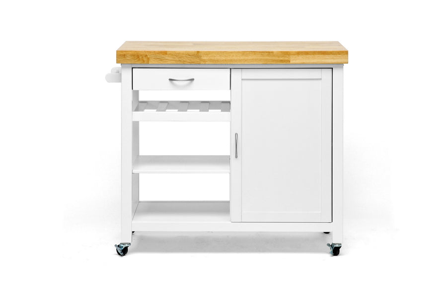 Modern Kitchen Cart in White Rubberwood