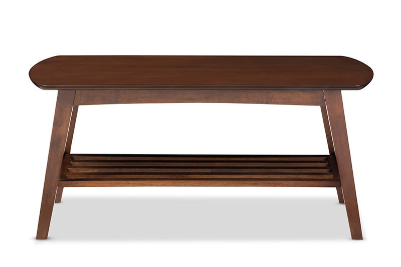 Mid-Century Modern Coffee Table in Dark Brown Solid Rubber Wood