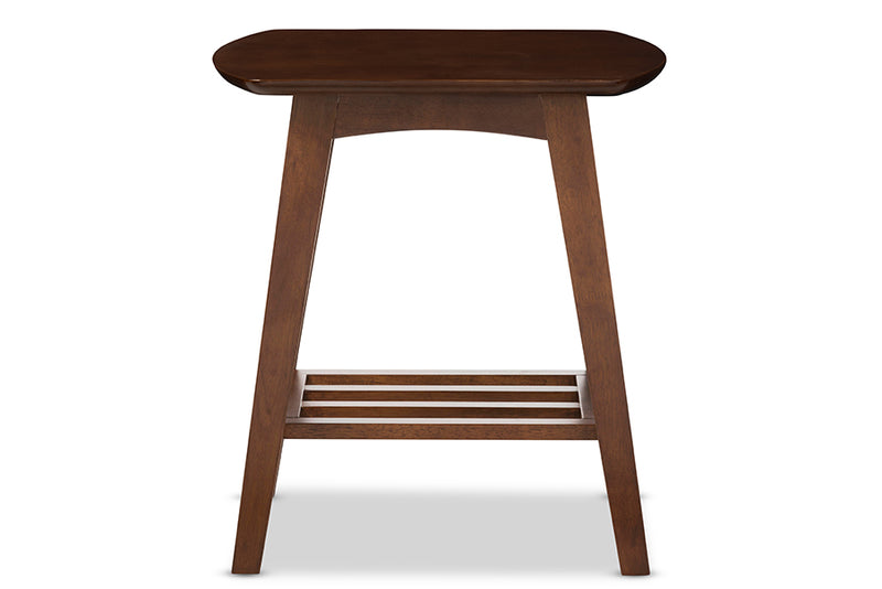 Mid-Century Modern End Table in Dark Brown Solid Rubber Wood