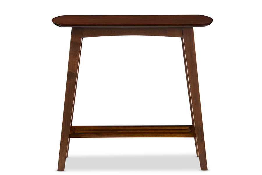 Mid-Century Modern Console Table in Dark Brown Solid Rubber Wood
