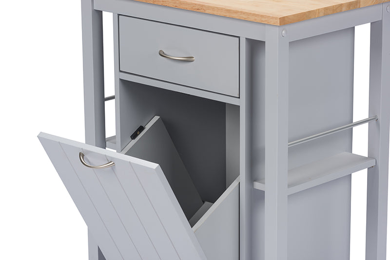 Contemporary Kitchen Cart with Wood top in Light Grey