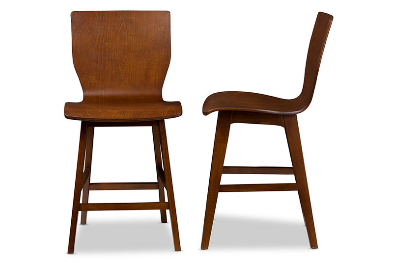 Mid-Century Modern 2 Counter Bar Stools in Dark Brown Solid Rubber Wood