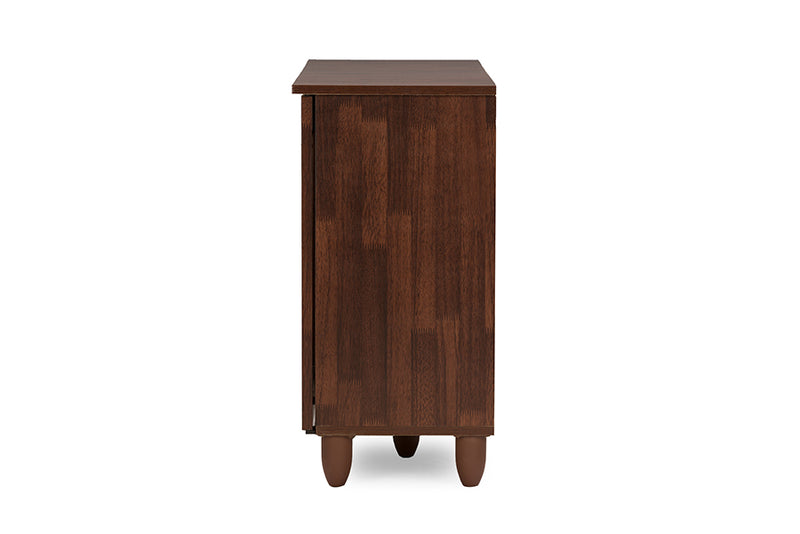Contemporary Shoe Cabinet in Brown Engineered Wood/Vinyl - The Furniture Space.
