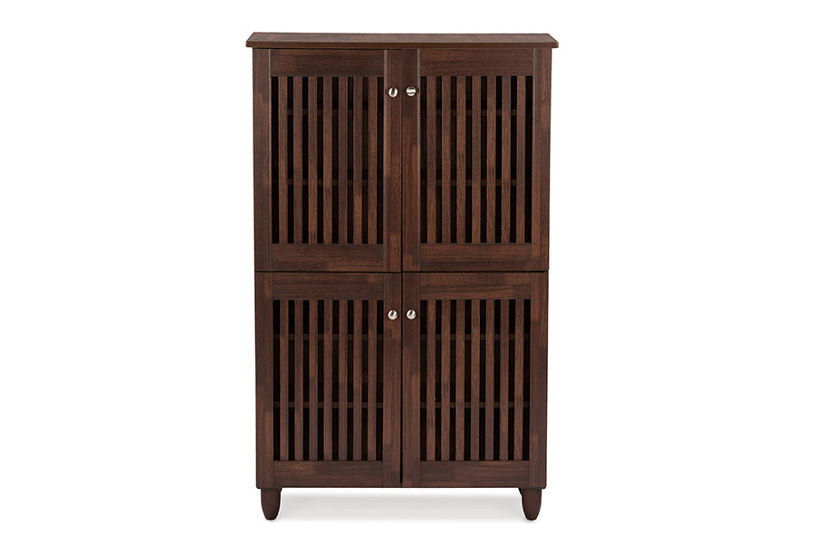 Contemporary Entryway Storage Shoe Cabinet in Brown Engineered Wood/Vinyl