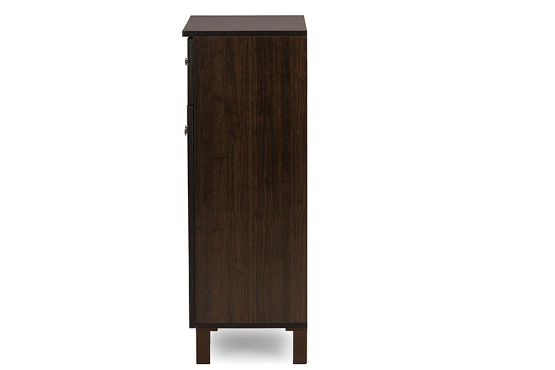 Contemporary Shoe Cabinet in Dark Brown Engineered Wood/Vinyl