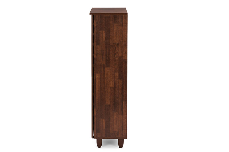 Contemporary Shoe Cabinet in Brown/White Engineered Wood/Vinyl - The Furniture Space.