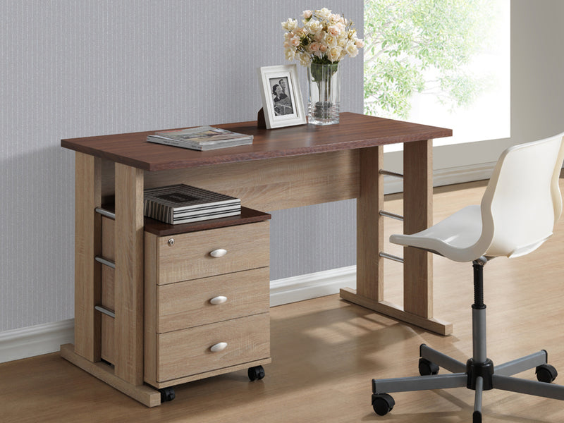 Contemporary Writing Desk in Natural Dark Brown