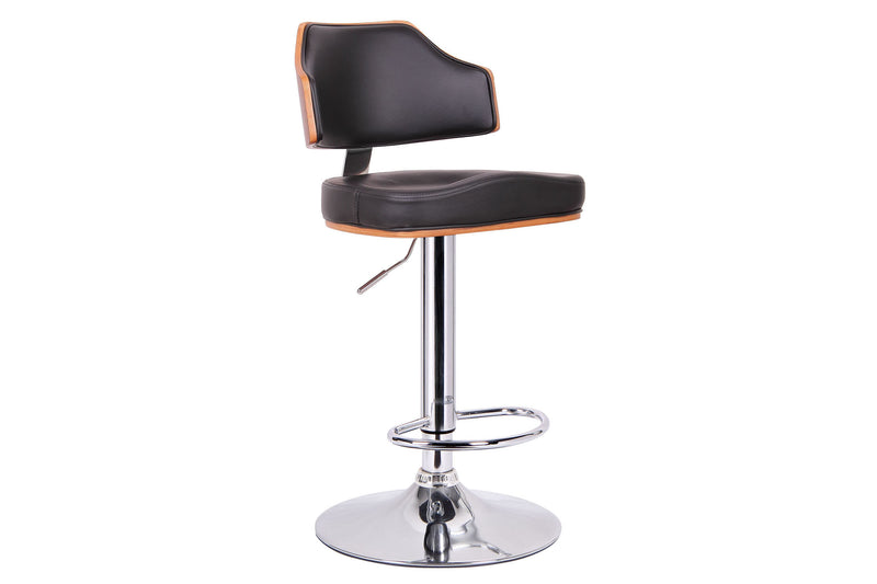 Contemporary Leatherette & Chrome Bar Stool in Walnut Brown & Black
