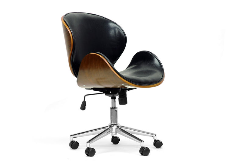 Adjustable Office Chair in Black Faux Leather - The Furniture Space.