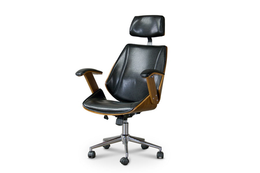 Contemporary Office Chair in Walnut/Black PU Leather - The Furniture Space.