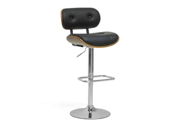 Modern Leatherette & Chrome Bar Stool in Walnut Brown & Black