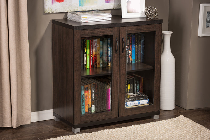 Contemporary Sideboard Storage Cabinet in Dark Brown