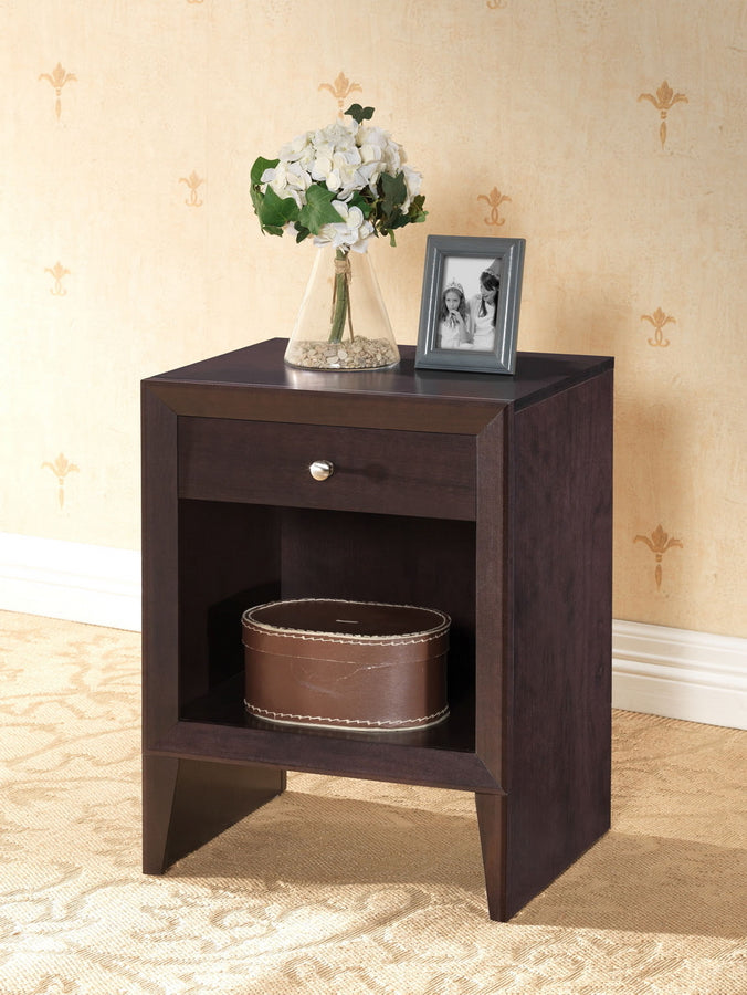 Accent Nightstand in Dark Brown Engineered Wood - The Furniture Space.