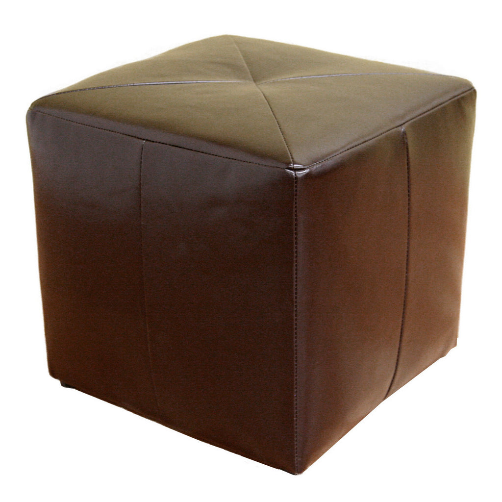 Contemporary Stool Ottoman in Dark Brown Bonded Leather