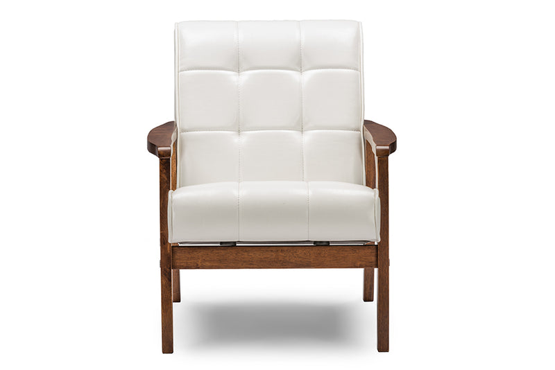 Mid-Century Living Room Chair in White Faux Leather