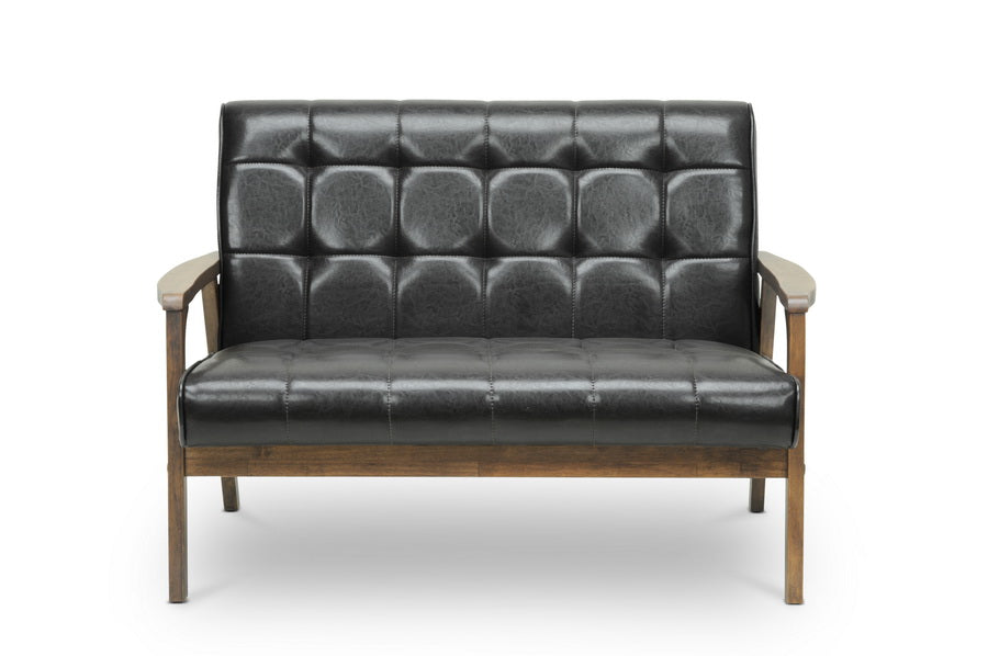 Mid-Century Sofa, Loveseat & Accent Chair in Brown Faux Leather