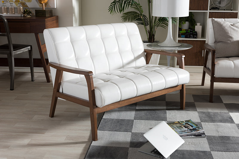 Mid-Century Loveseat in White Faux Leather