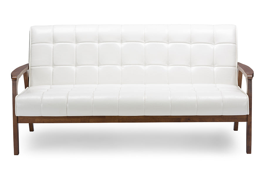 Mid-Century Sofa in White Faux Leather