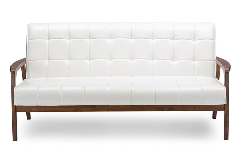 Mid-Century Sofa, Loveseat & Accent Chair in White Faux Leather