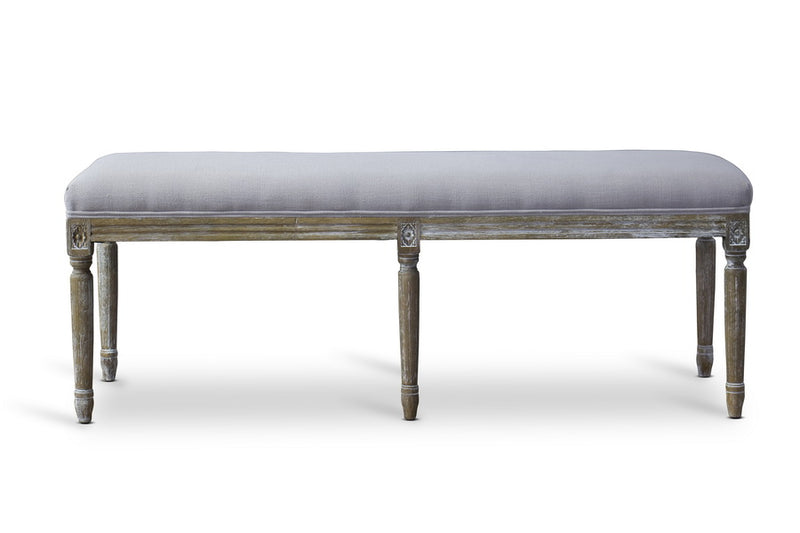 French Wood Trimmed Bench in Beige Linen Fabric