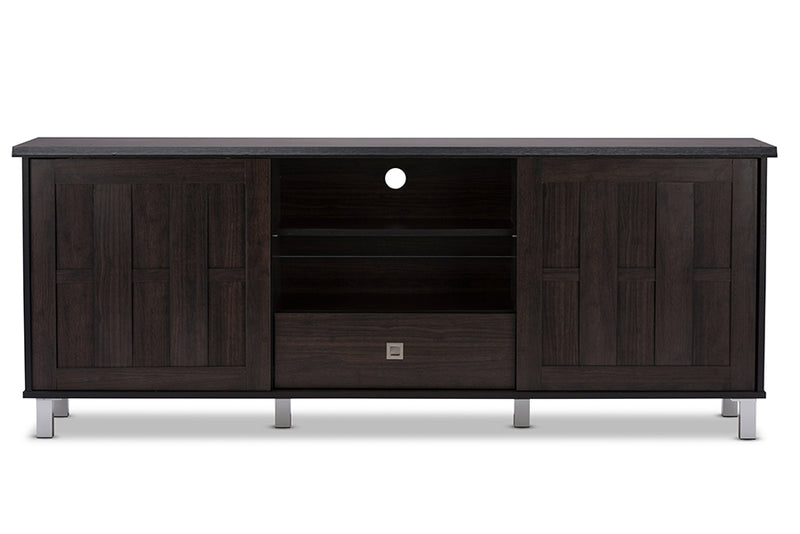 Contemporary TV Stand in Dark Brown Engineered Wood/Vinyl