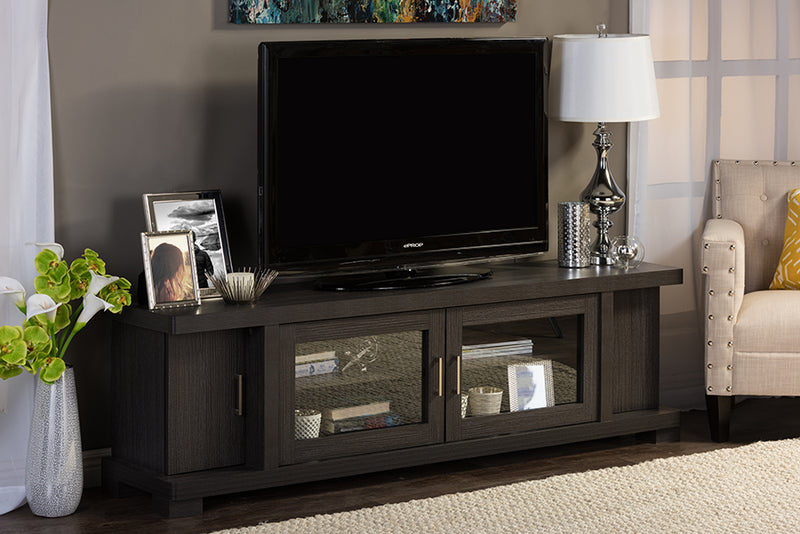 Contemporary TV Stand in Dark Brown Engineered Wood/Vinyl/Glass