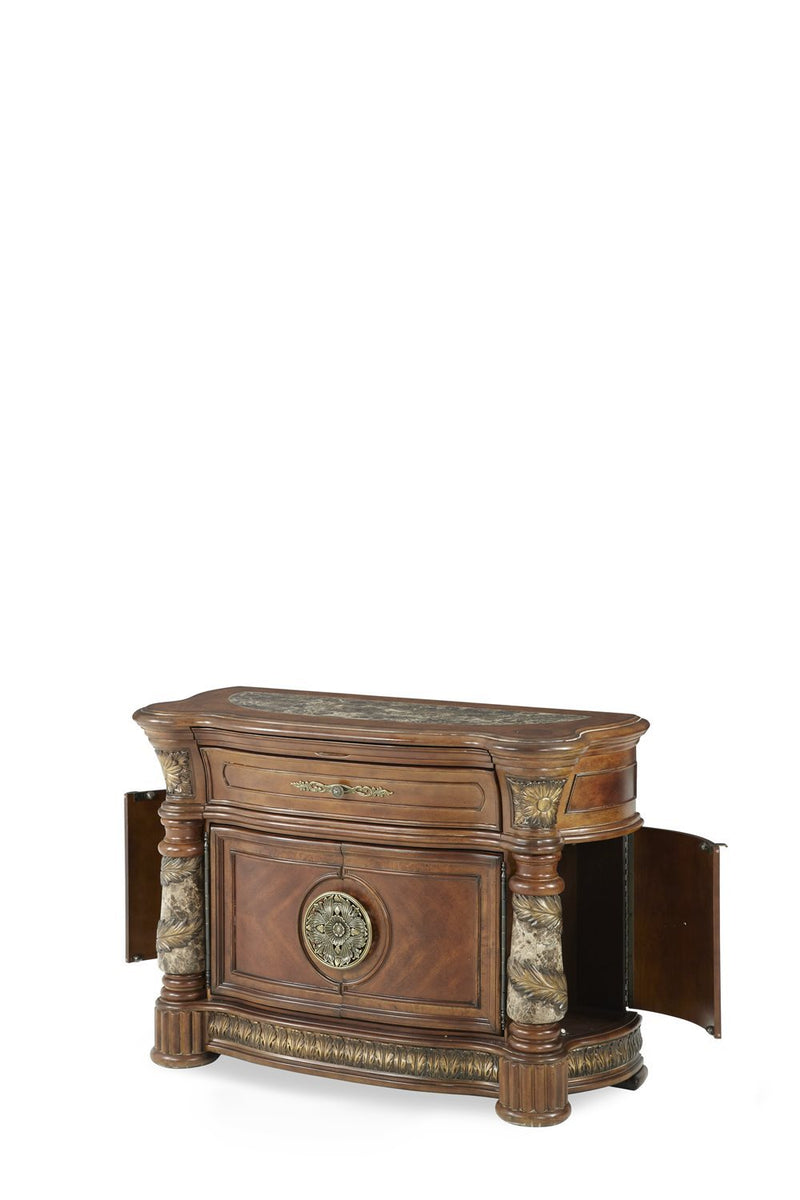 Aico Amini Villa Valencia 2 PC Bachelors Chest & Mirror Set in Classic Chestnut
