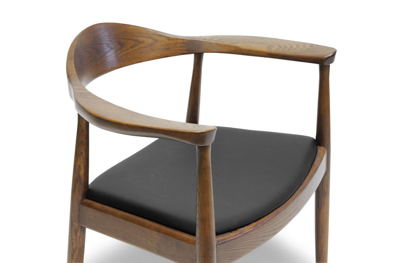 Mid-Century Dining Chair in Dark Brown Faux Leather