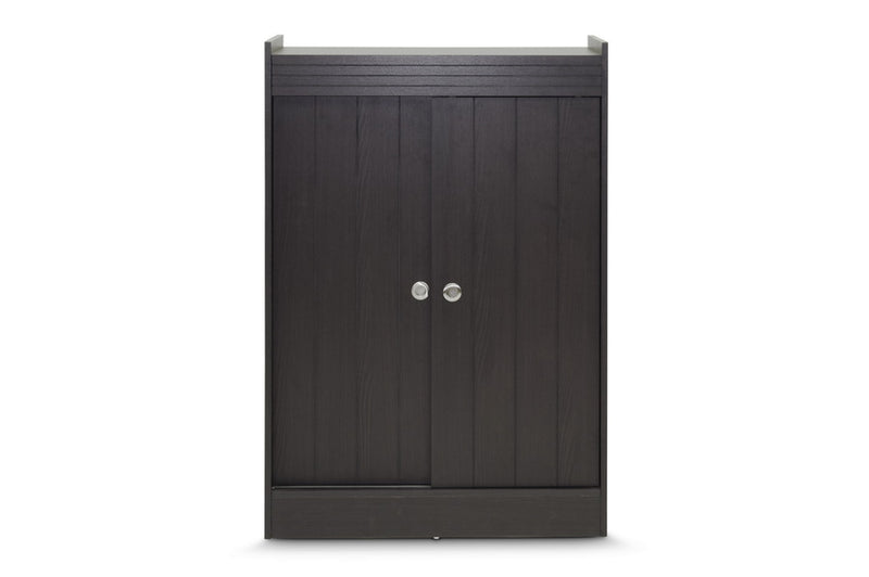 Contemporary Shoe Cabinet in Dark Brown - The Furniture Space.