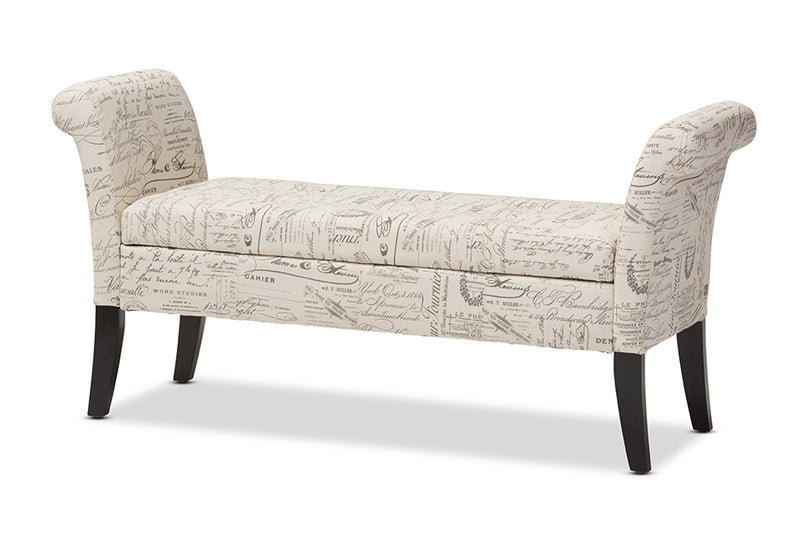 Classic Storage Ottoman Bench in Beige Fabric - The Furniture Space.