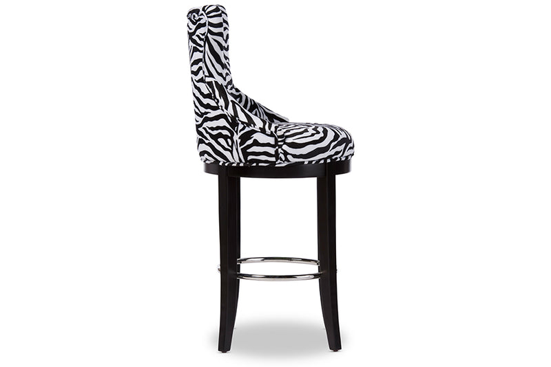Contemporary Bar Stool in Zebra Print Fabric - The Furniture Space.