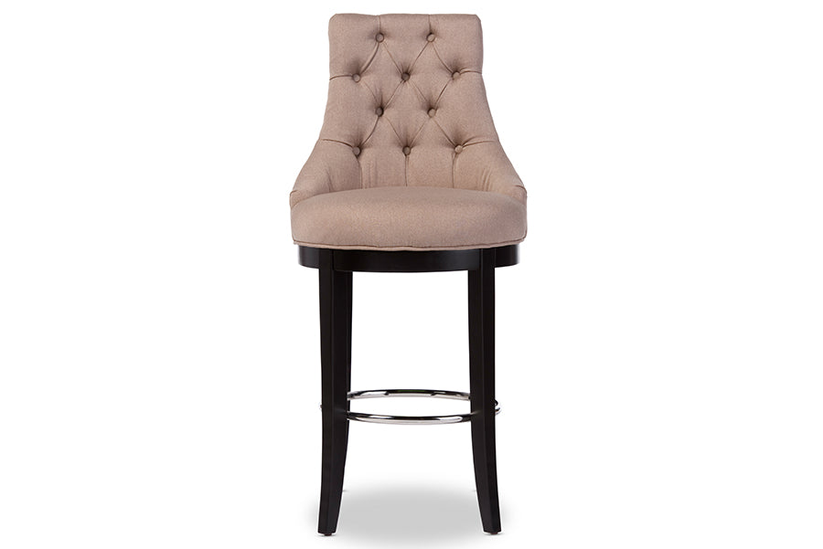 Contemporary Button Tufted Bar Stool in Beige Fabric - The Furniture Space.