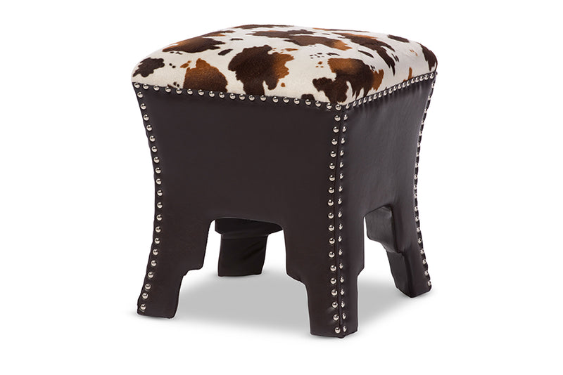 Contemporary Accent Stool Bench in Brown/Cow Print PU Leather - The Furniture Space.