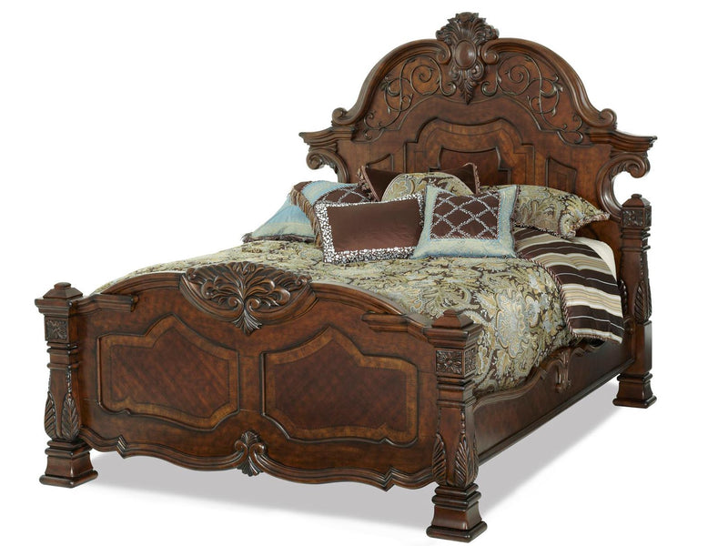 Aico Amini Windsor Court 4Pc Bedroom Set E King Mansion Bed Dresser Mirror One Nightstand in Vintage Fruitwood