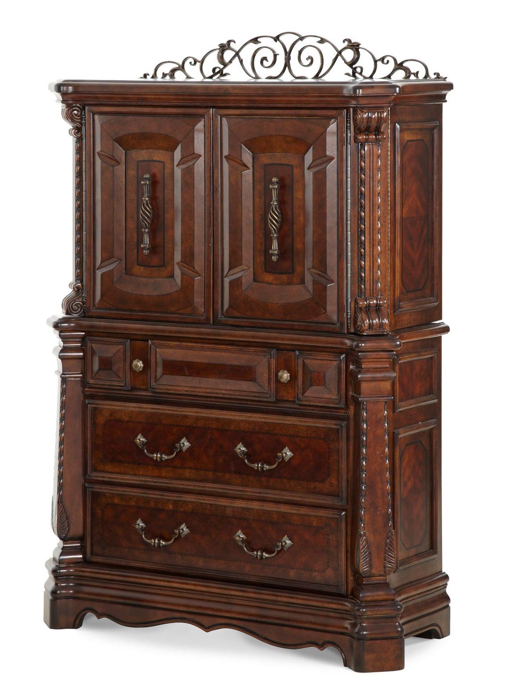 Aico Amini Windsor Court Chest in Vintage Fruitwood