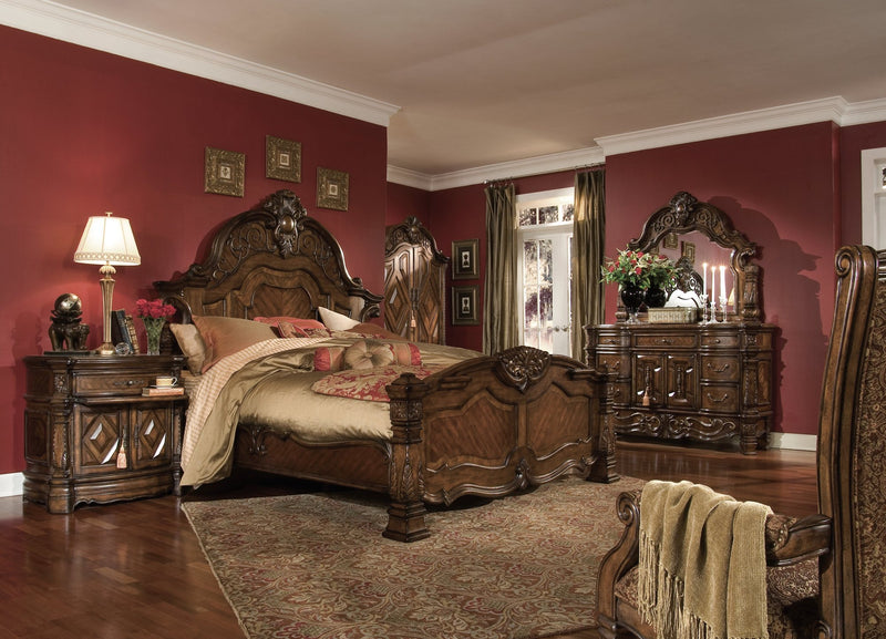 Aico Amini Windsor Court 6Pc Bedroom Set E King Mansion Bed Dresser Mirror Two Nightstand Chest in Vintage Fruitwood