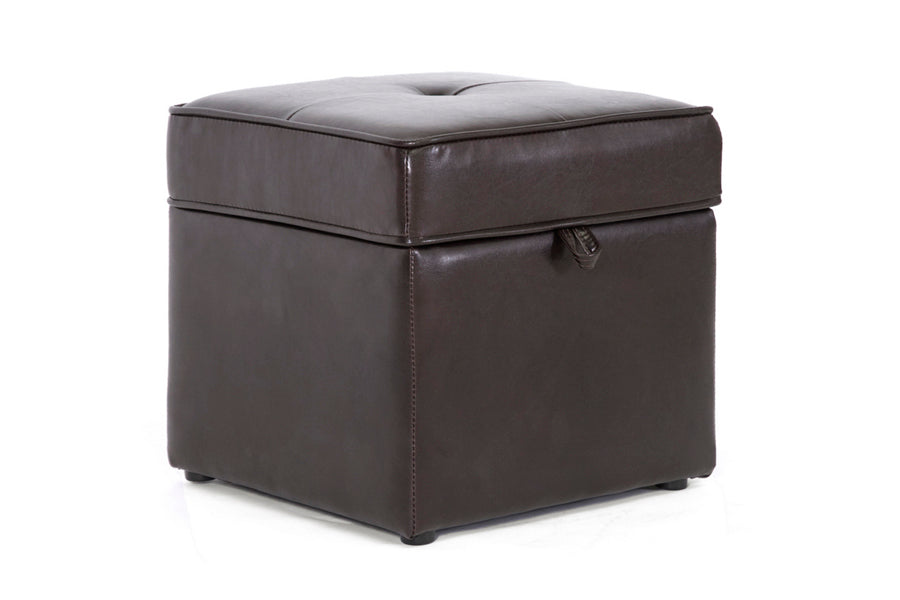 Modern Storage Ottoman in Dark Brown Faux Leather