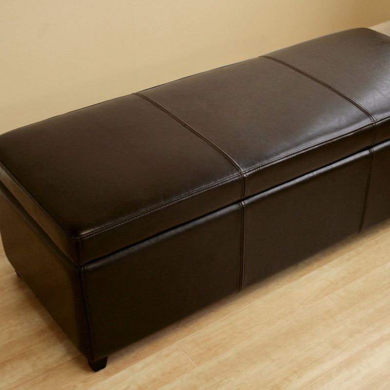 Contemporary Storage Bench Ottoman in Dark Brown Leather