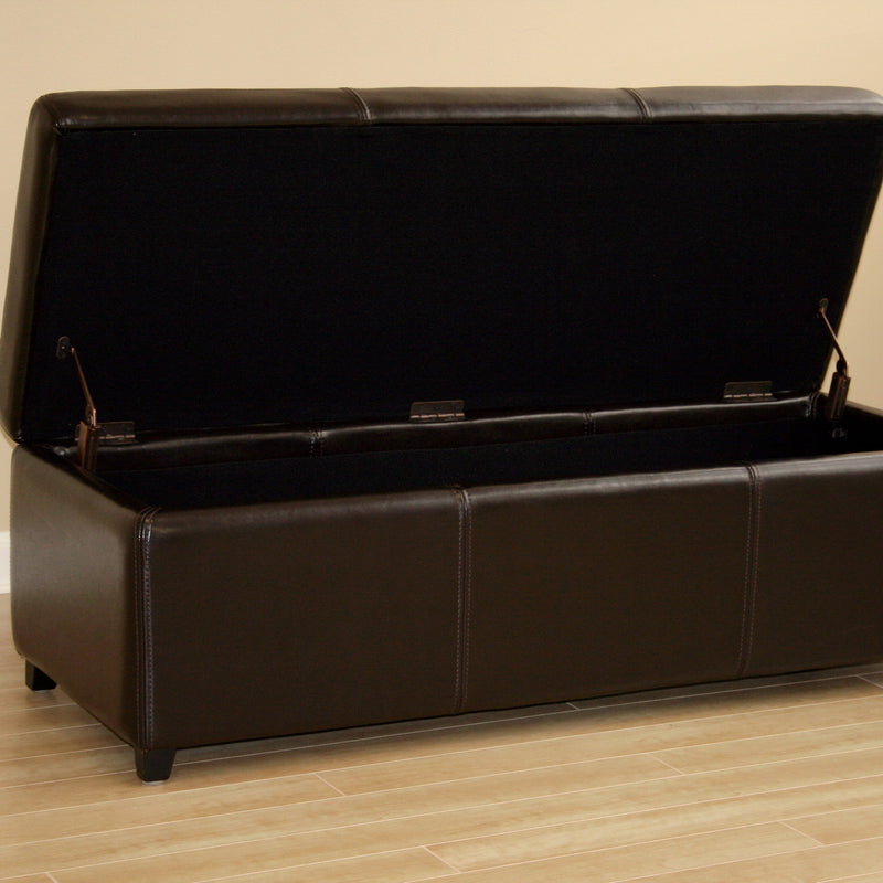 Contemporary Storage Bench Ottoman Cube in Dark Brown Leather