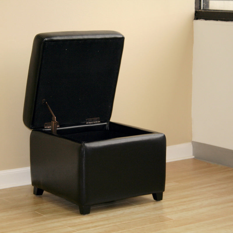 Contemporary Square Cocktail Ottoman Cube in Black Leather