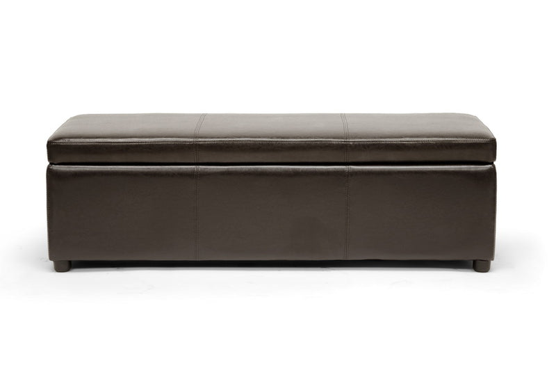 Contemporary Ottoman in Dark Brown Bonded Leather - The Furniture Space.