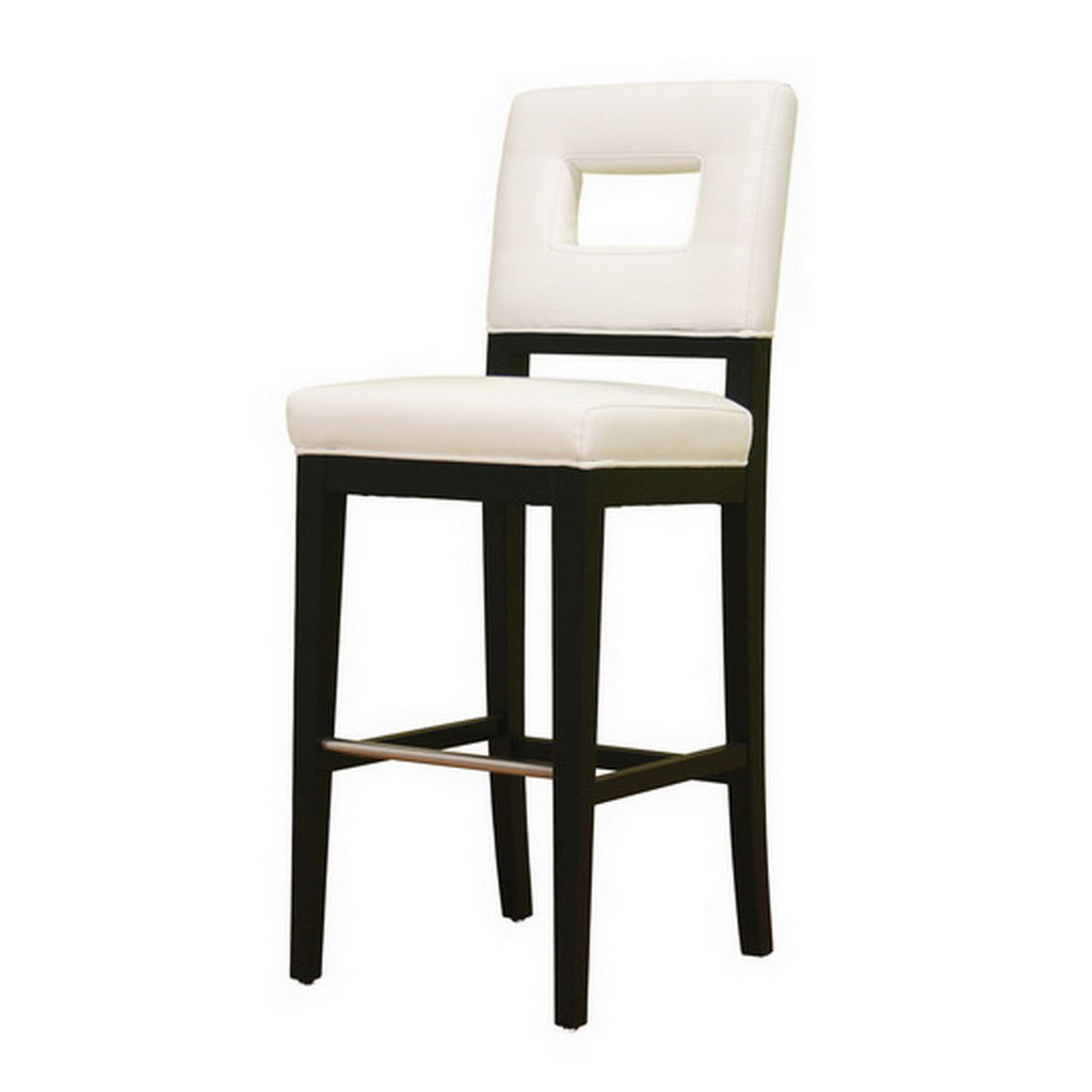 Contemporary Bar Stool in Cream Bycast Leather - The Furniture Space.