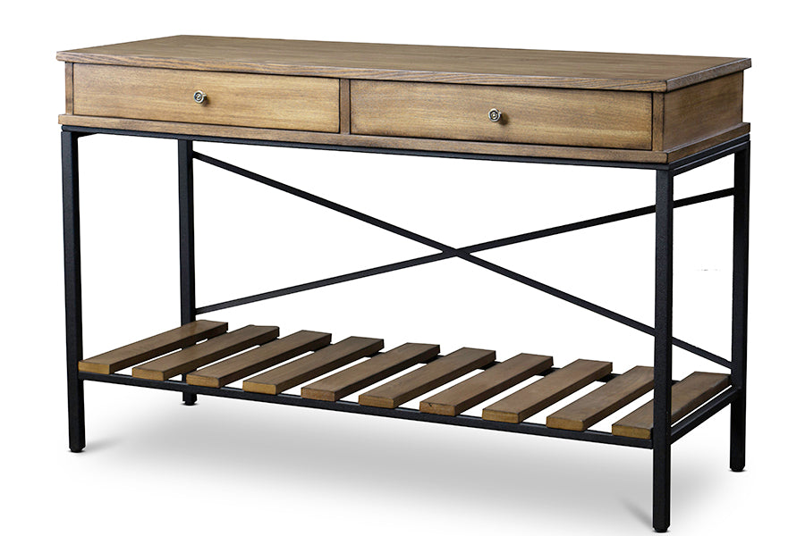 Vintage Industrial Metal Console Table in Brown & Antique Bronze