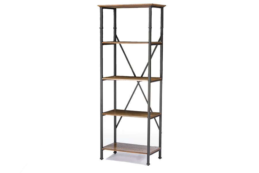 Vintage Industrial Metal Bookcase in Brown